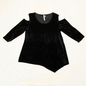 Women's XL Cold Shoulder Long Sleeve Velour -sz XL